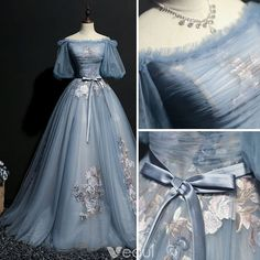 Elegant Sky Blue Prom Dresses 2018 Ball Gown Bow Embroidered Off-The-Shoulder Short Sleeve Floor-Length / Long Formal Dresses - Formal dresses short - Elegant Prom Dresses, Prom Dresses 2018, Dream Wedding Dresses, Ball Dresses, Pretty Dresses, Beautiful Dresses, Ball Gowns, Formal Dresses, Vintage Prom Dresses