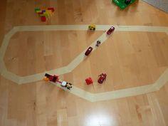 masking tape road (2 yr olds)