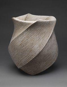 """Listening to Waves"" vase, Heisei period (1989–present), 2004  Sakiyama Takayuki (Japanese, born 1958)  Sand-glazed stoneware"