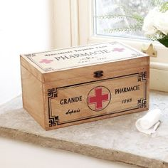 Vintage Wooden First Aid Storage Tin with Lid