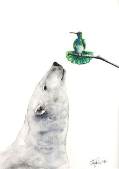 Strange meeting. Polar bear and hummingbird