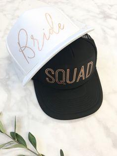 Rose Gold Bride/Squad Trucker Hats