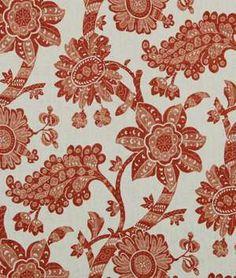 Robert Allen Unique Floral Poppy - white, russet & peach floral fabric - $46.90