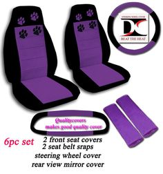 6 PIECE SET CAR SEAT COVERS BLACK & PURPLE PAW PRINTS WITH MATCHING ACCESSORIES