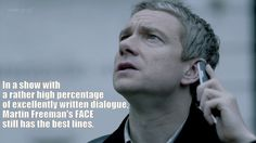 In a show with a rather high percentage of excellently written dialogue, Martin Freeman's FACE still has the best lines.