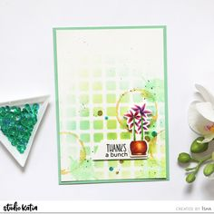 Hello everyone! Isha here sharing a CAS card using no-line pencil coloring along with stencil and various stamps. I started by creating a white mat layer. Thanks A Bunch, Card Sketches, Gold Ink, Distress Ink, Happy Weekend, Tim Holtz, Hello Everyone, Flower Pots, Thank You Cards