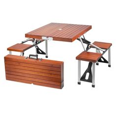 Suitable for on the patio, in the yard or inside your home, this portable picnic table is an ideal place to relax. Design to seat up to four guests, this picnic table can easily fold, making it easy t