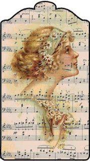 Shoregirl's Creations ~ Printable Vintage Lady Music Tag