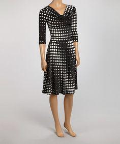Black & White Geo Dot A-Line Dress