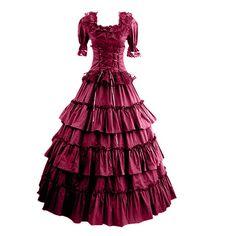 Partiss Women Multi-Layer Floor-length Gothic Victorian Dress,XS,Black
