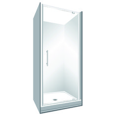 Features One piece acrylic lining. Low profile tray with 40mm upstand Tray is Rear Centre Waste. 1950mm high glass. 6mm safety glass Standard Pivot Door Modern 1-piece design which is reversible (flip to fit) Pivot Door models Available in White and Silva
