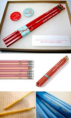 save the date pencils Schmeltzer Wood this would be cute and easy to get with Keith in the biz Wedding Blog, Dream Wedding, Wedding Ideas, Diy Save The Dates, Vow Renewal Ceremony, Retreat Ideas, Single Ladies, Anniversary Parties, Wedding Stationary