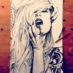 I love art Beautiful Drawings, Cool Drawings, Drawing Sketches, Drawing Skills, Art And Illustration, Sara Fabel, Art Amour, Art Du Croquis, Arte Sketchbook