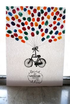 Vintage Bicycle & Thumbprint Balloons by GracieBearDesigns on Etsy, $15.00