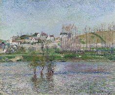 Camille Pissarro - The Flood at Pontoise, 1882. Картины с аукционов Sotheby′s. Download painting.