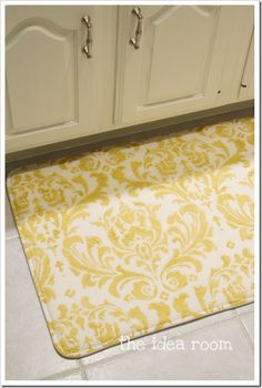 Why didnt I think of this? Pick the size  fabric -- DIY Memory Foam Rug via the idea room, love this!