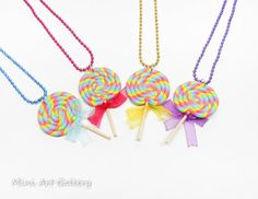 Rainbow lollipop necklace / colorful lolli / miniature food necklace organza bow / mini food jewelry / Kawaii charm handmade polymer clay. © Mini Art Gallery
