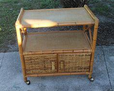 Vintage Rattan Wicker Bar Tea Cart Buffet Cabinet Hollywood Regency Mid Century Modern Palm Beach Castors Wheels