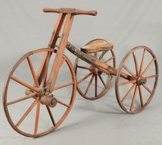 Early Wood Frame Bone Shaker Tricycle