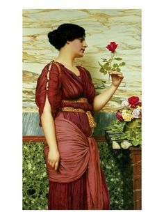 A Red, Red Rose Giclee Print by John William Godward at Art.com
