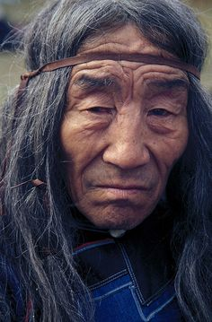 An old Evenk shaman's face. Ulan-Ude. The Republic of Buryatia.   Looks composed and wise.
