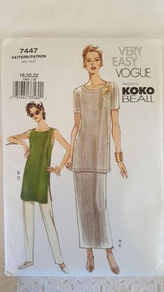 Vogue 7447 ~ Very Easy Vogue KoKo Beall Tunic Skirt and Pants ~ Size: 18 20 22 ~ 2001 ~ Pattern ~ Uncut Sewing Pattern ~ GRTLPAT Condition: Original Jacket, Wrinkled slightly from storage. May have some discoloration to jacket. See Pictures.  Found in Grandmas Trunk are these
