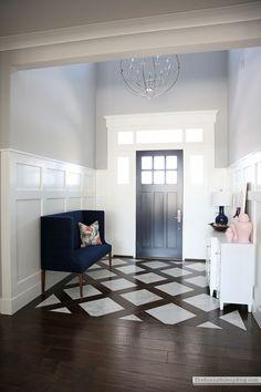 flooring design Front entry bench (Sunny Side Up) Entryway Tile Floor, Entryway Flooring, Living Room Flooring, Entryway Decor, Front Entry Decor, Tile Living Room, Dining Room, Design Case, Web Design