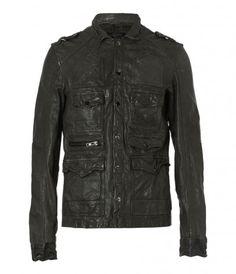 Command Leather Jacket. Elephant Grey $190