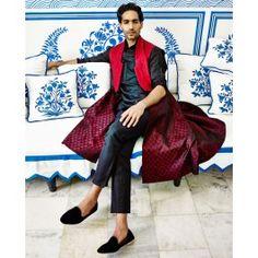 Maroon Maharaja Achkan by Anita Dongre Man - Indian Ethnic Designs in Menswear - Designer Wear of India - Buy Online #Sherwani #Kurta #Salwar #Dhoti #Pajama #Waistcoat Nehru Jacket at #ExclusivelyIn Shop Now!