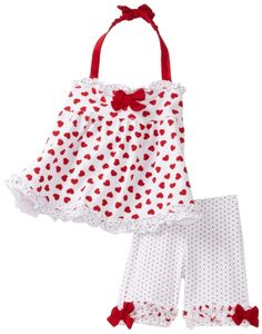 Kate Mack Baby-girls Newborn American Beauty Top and Short Set