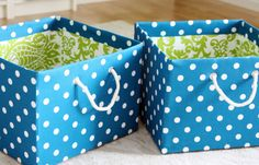 MAKE FABRIC COVERED BINS (via http://iheartorganizing.blogspot.com/2012/03/pretty-pretty-diy-fabric-boxes-link.html)