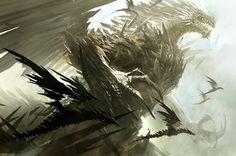 "dragons: ""Concept art from Guild Wars II, by Kekai Kotaki "" Dragon Images, Dragon Pictures, High Fantasy, Dark Fantasy Art, Fantasy Creatures, Mythical Creatures, Tiamat Dragon, Beautiful Dragon, Dragon Artwork"