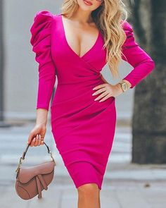 Solid Puff Sleeve Ruched Bodycon Dress Women's Best Online Shopping - Offering Huge Discounts on Dresses, Lingerie , Jumpsuits , Swimwear, Tops and More. Chic Outfits, Dress Outfits, Casual Dresses, Dresses For Work, Maxi Dresses, Dress Shoes, Sleeve Dresses, Trend Fashion, Style Fashion