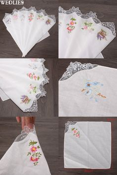 [Visit to Buy] Vintage Cotton Women Hankies Embroidered Butterfly Lace Flower Hanky Floral Assorted Cloth Ladies Handkerchief Fabrics 6PCS #Advertisement