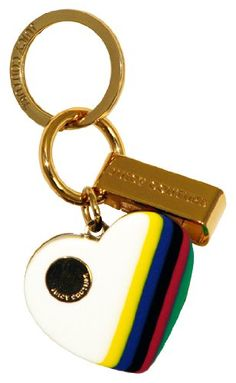 Juicy Couture Multi Stripe Heart Key Fob Key Chain Gold