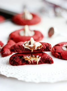 Red Velvet Kiss Cookies from @culinarycouture
