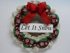 Christmas Burlap Wreath, Holiday Wreath, Country Burlap Wreath, Christmas Front Door Wreath, Let It Snow Wreath, Snow Flake Ribbon, Red Bow by BeautifulHomeAccents on Etsy
