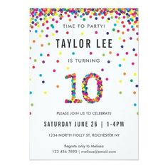 Rainbow 10 Year Old Birthday Party, Birthday Invitation 12 Year Old Birthday Party Ideas, Girls Birthday Party Themes, 10th Birthday Parties, 10 Birthday, Rainbow Invitations, Invites, Third Birthday Girl, Bday Girl, 10th Birthday Invitation