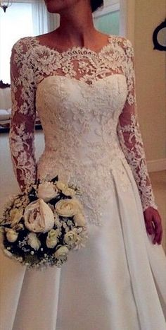 A-Line Lace Wedding Dresses, Backless Wedding Dress