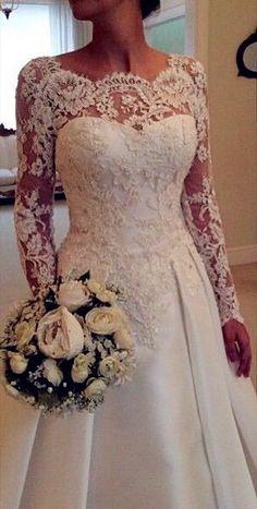 A-Line Lace Wedding Dresses, Backless Wedding Dress