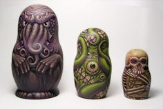 The Lovecraftsman: H.P. Lovecraft Russian nesting dolls: Cthulhu, Shoggoth and the Necronomicon