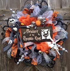 Halloween Wreath, Halloween Mesh Wreath, Nightmare Before Christmas Wreath, Jack Skellington Wreath, Beware of the Pumpkin King on Etsy, $149.00