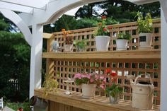 Potting Bench incorporated into deck screen