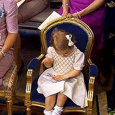 Princess Estelle of Sweden daughter of Crown Princess Victoria at the christening of her cousin, Princess Leonore, daughter of Princess Madeleine and Christopher O'Neill. June 8, 2014.