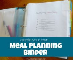Create your own meal planning binder