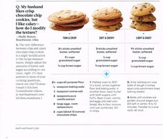 Chocolate chip varieties 1. Thin & crisp, 2. soft & chewy and 3. Light & cakey Martha Stewart