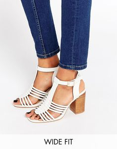 a92e0c897c4 Image 1 of ASOS TELESCOPE Wide Fit Heeled Sandals Strappy Sandals Heels