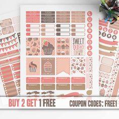 CUPCAKES Planner Stickers Printable, Erin Condren Stickers, Monthly Kit, Weekly Kit, Printable Sampler, Erin Condren kit, Instant download