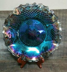Vintage Indiana Glass Iridescent Blue Carnival Glass Crimped Hostess Plate, Indiana Glass Pattern #2908, Diamond Blue Carnival Glass Plate by EmptyNestVintage on Etsy
