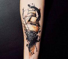 Ship tattoo by Aleksandra Katsan